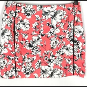 Tobi Skirt Floral Mini Summer Coral White Blk Sz M
